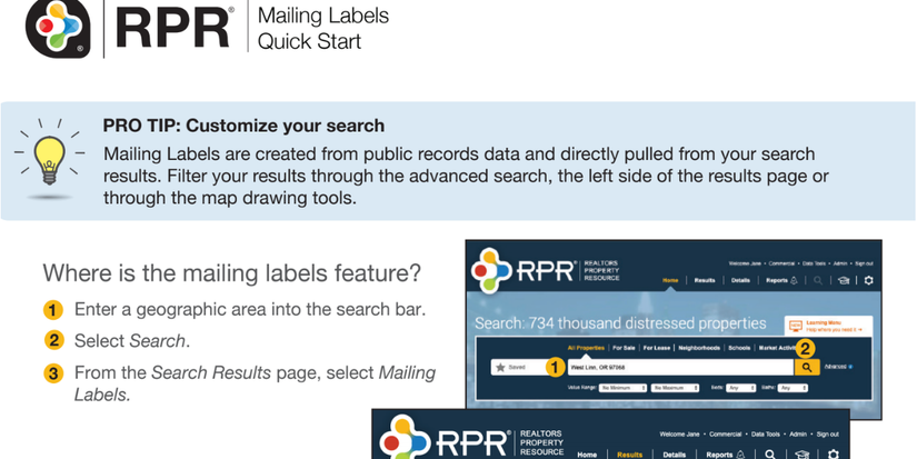 RPR Mailing Labels Cover Photo