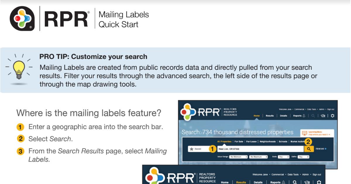 RPR Introduces Mailing Label Feature | CCIAOR